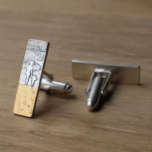Mother And Child Footprints In The Sand Cufflinks