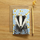 Recycled Illustrated Badger Card