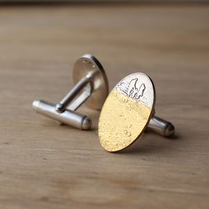 Personalised Footprints In The Sand Family Cufflinks
