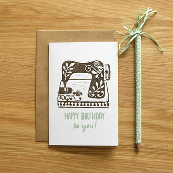 Recycled Sewing Machine Birthday Card