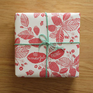 Recycled Strawberry Wrapping Paper