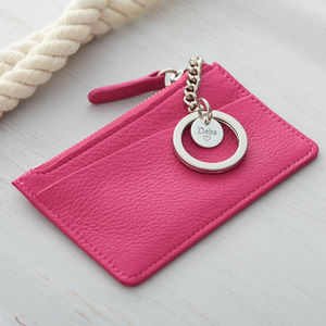 Leather Purse With Personalised Silver Keyring