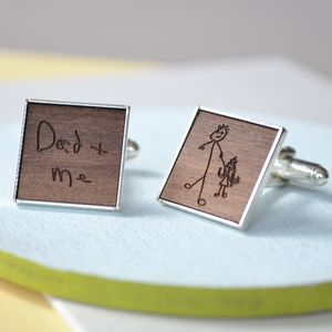 Personalised Wooden Drawing Cufflinks - cufflinks