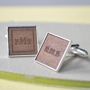 Personalised Monogram And Date Cufflinks - men's sale