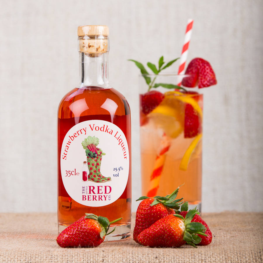 strawberry vodka liqueur by the little red berry co ...
