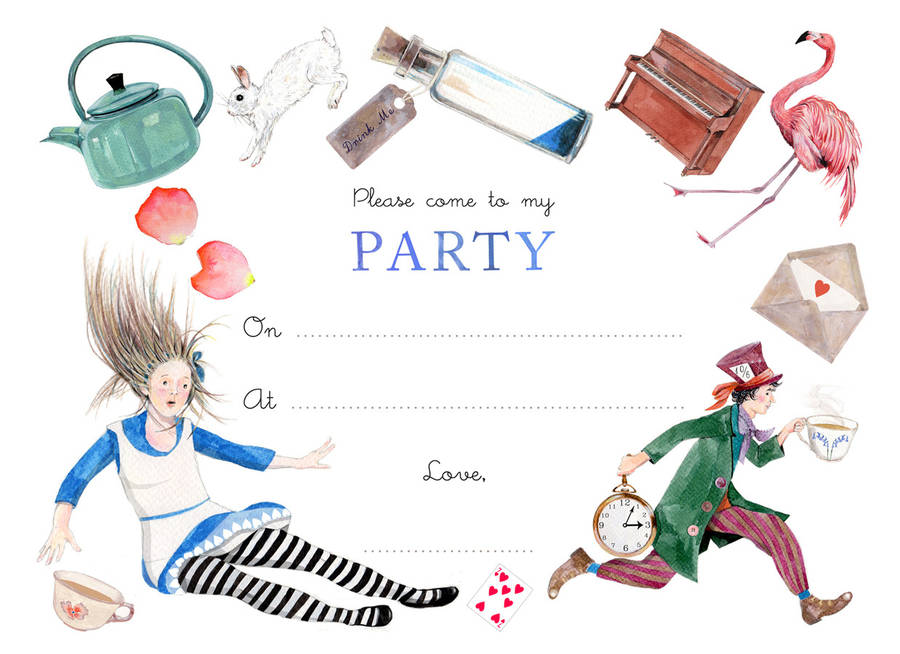 Alice In Wonderland Mad Hatter Tea Party Invitations
