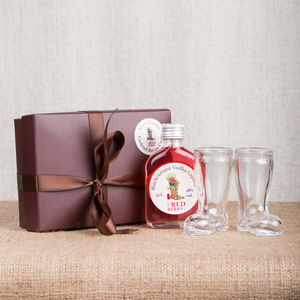 Wellington Boot Shot Glass Gift Box