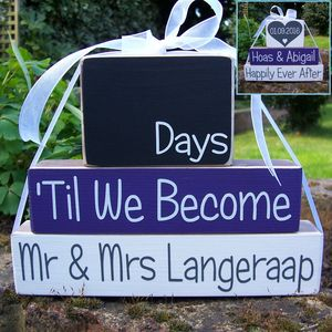 Reversible Personalised Wedding Countdown Date Blocks - kitchen accessories