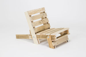 Folding Pallet Chair Plain Timber - garden furniture
