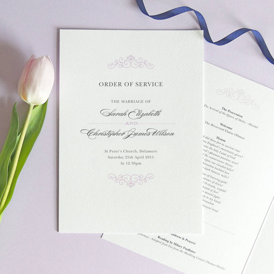 eva wedding order of service four page booklet by project pretty ...