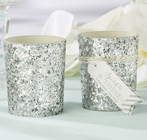 'Sparkle' Silver Glitter Votive/Tealight Holder