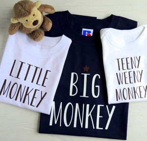 Personalised Father, Son And Baby Monkey T Shirts - babygrows
