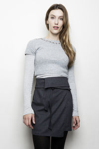 Wrap Around Skirt In Grey - skirts & shorts