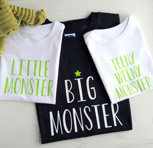 Personalised Father, Son And Baby Monster T Shirts - baby & child