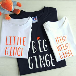 Personalised Father, Son And Baby Ginger T Shirts