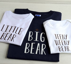 Personalised Father, Son And Baby Bear T Shirts - children's dad & me sets