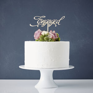 Elegant 'Engaged' Wooden Cake Topper