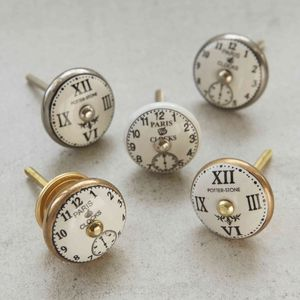 Vintage Antique Clock Face Cupboard Knobs