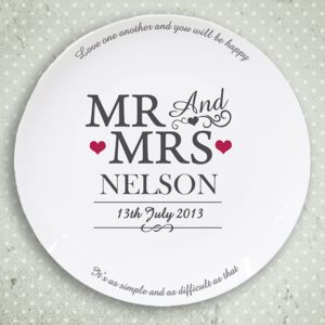 Mr And Mrs Personalised Name Wedding Plate