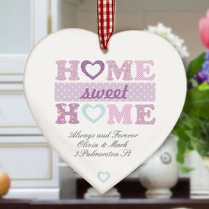 Home Sweet Home Personalised Wooden Heart Decoration - home accessories