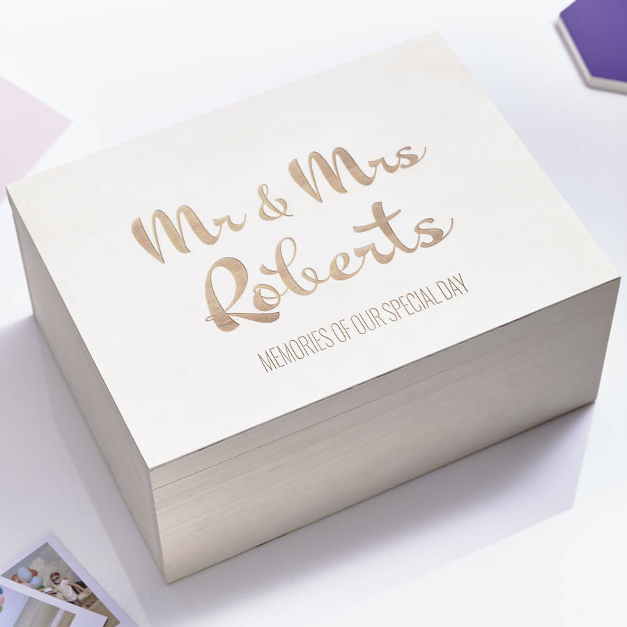 Large Personalised Calligraphy Wedding Keepsake Box