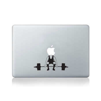 Weightlifting Apple Vinyl Decal For Macbook 13/15