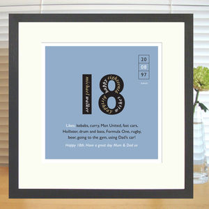 Personalised 18th Birthday Print - birthday gifts