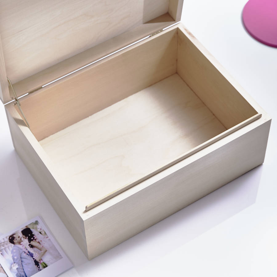 Large Personalised E Wooden Baby Keepsake Box