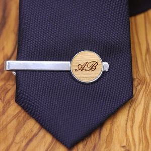 Wooden Personalised Initial Tie Clip - tie pins & clips