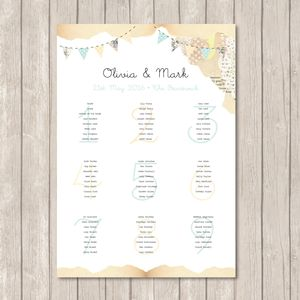 Country Bunting Table Plan