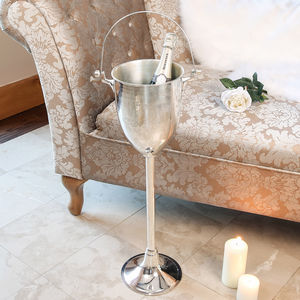 Etched Silver Plated Standing Champagne Bucket - sale by room
