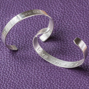 Sterling Silver Engraved Cuff Bangle - men's jewellery