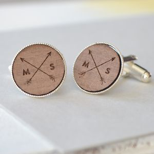 Personalised Wooden Arrow Cufflinks - cufflinks