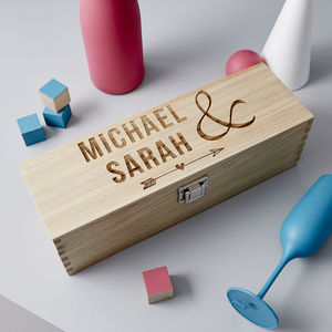 Wooden Personalised Wedding Bottle Box - ribbon & wrap