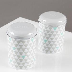 Retro Geometric Tea And Coffee Canisters