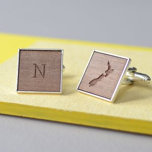 Personalised Initial And Map Cufflinks