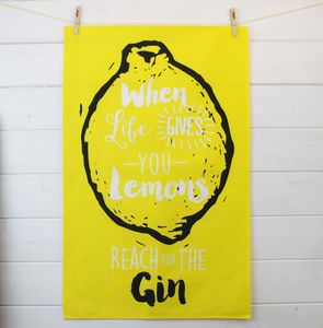 Gin And Tonic Printed Tea Towel Gift
