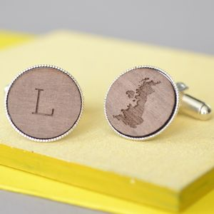 Personalised Engraved Initial And Map Cufflinks - gifts for him sale
