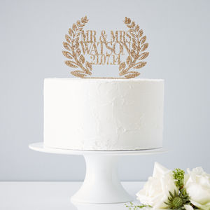 Personalised Wreath Wedding Cake Topper - cake decoration