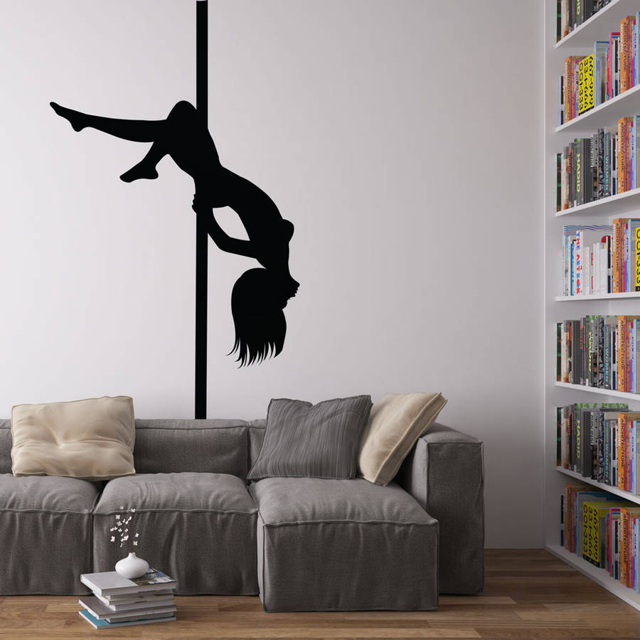 Wall Decor For Black Wall : Pole dancer vinyl wall art decal by revolution