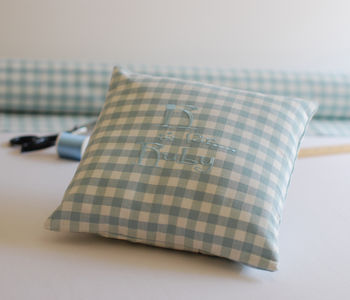 Personalised cushion duck egg blue