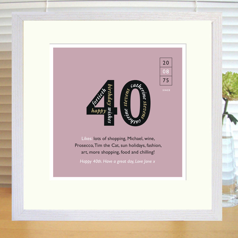 Personalised 40th Birthday Print With White Frame In Musk Red