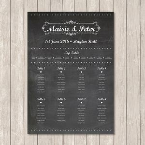 Chalkboard Table Plan - wedding stationery