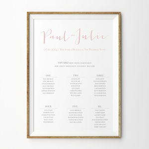 Love Note Table Plan Poster - table plans