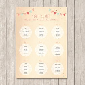Bunting And Lace Table Plan