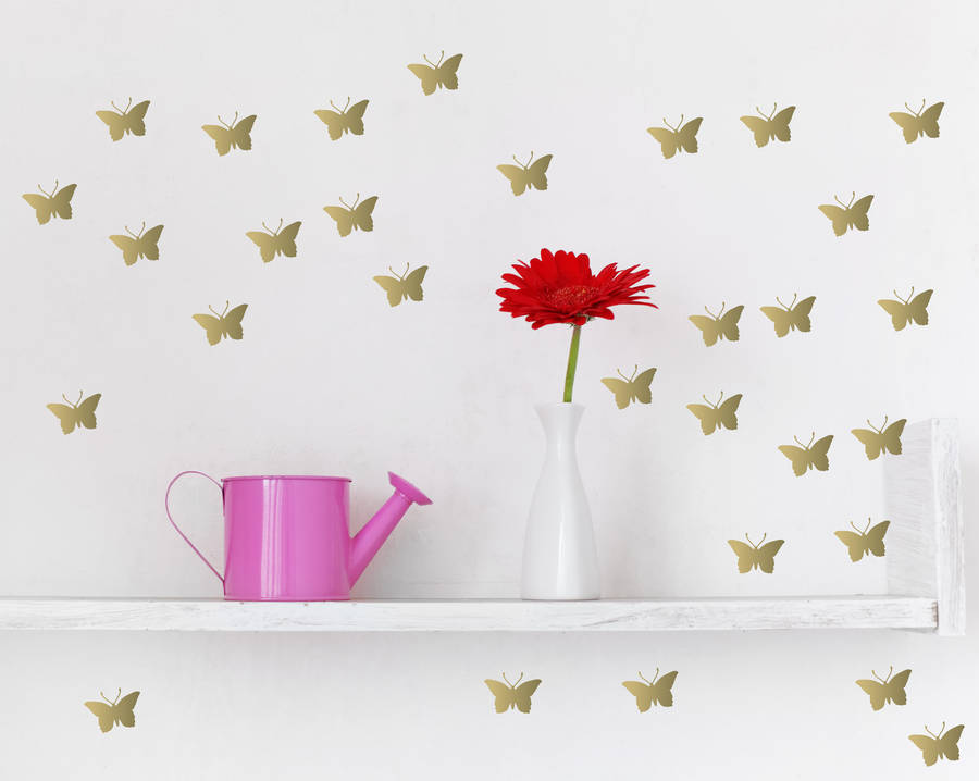 Metallic Gold Butterfly Wall Stickers By Parkins Interiors