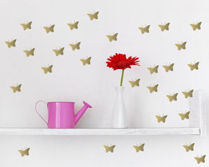 Metallic Gold Butterfly Wall Stickers