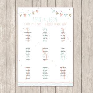 Bunting And Spots Table Plan - table plans