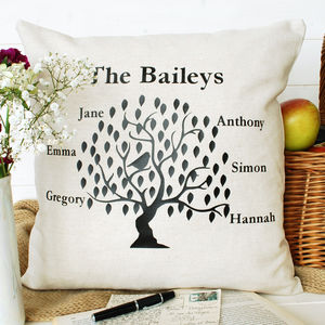 Family Tree Bird Cushion Square - gifts for families