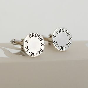 Personalised Round Cufflinks - wedding jewellery
